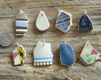 8 Drilled Sea pottery  pendant Pieces With 10 mm silver plated Jump Rings