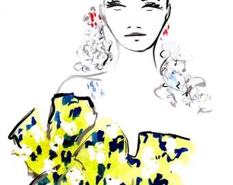 Delpozo Spring 2017 07 Art Print Fashion Illustration, Fashion Sketch, Fashion Art, Watercolour Illustration