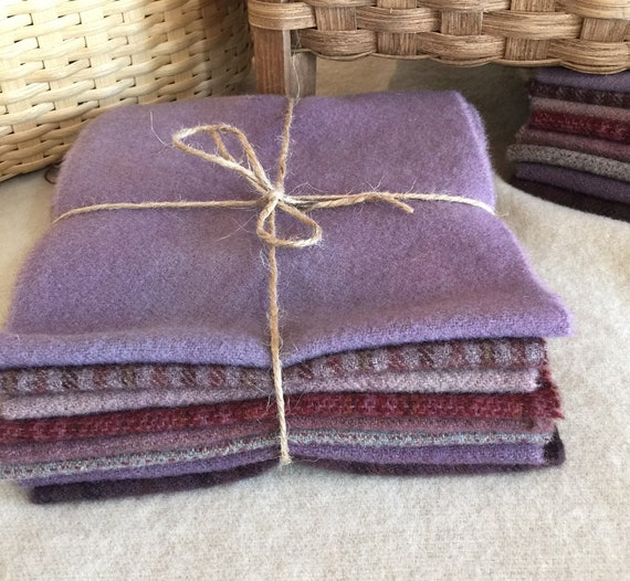 Purple Mix Wool Bundle, Hand and Mill Dyed Wool Fabric for Rug Hooking, Applique, Penny Rugs, Quilting, 8 - One Sixteenth Yard Pieces W337