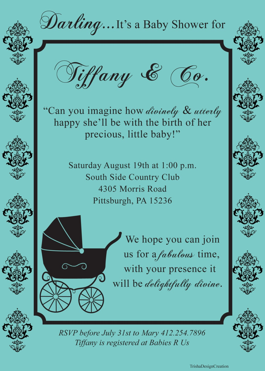 Breakfast at Tiffany\'s theme printable baby