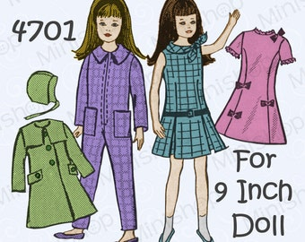 Skipper Doll Sewing Pattern Mail Order 4701. Fit Blythe doll.