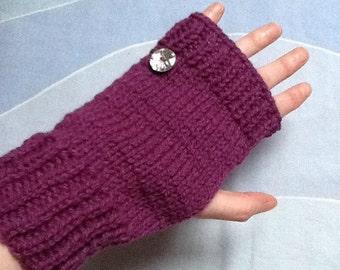 Sparkly Gloves, Glittery Gloves, Purple Knit Gloves, Purple Woolly Gloves, Purple Yarn Gloves, Button Gloves, Fingerless Gloves