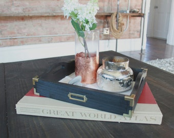 Vintage Inspired Tray with Brass Accents - FREE Shipping! - Finished Project -  Serving Tray - Decorative Tray - Wood Tray - Brass Corners