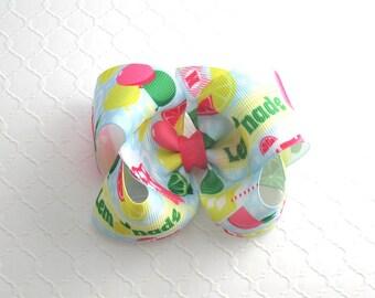 Lemonade Stand Party Hair Bow ~ Lemonade Hair Bow ~ Pink Lemonade Hair Bow ~ Toddler Summer Hair Bow ~ Girls Boutique Hair Bows