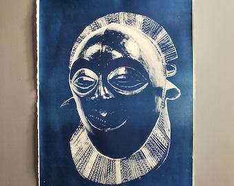 African Mask Cyanotype Blueprint