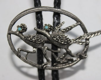 Two Roadrunners Silver Metal with Turquoise Eyes Bolo Tie Vintage Bolo Tie Vintage Jewelry