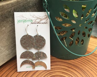 Moon Phase Hammered Aluminum and Fine Silver Long Dangle Earrings