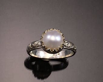 Pearl Ring, Sterling Silver Ring, Made to Order, Bezel Set Pearl Ring