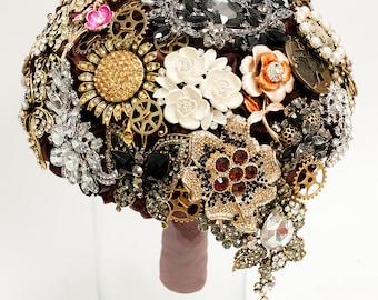Brooch Bouquet. Steampunk vintag dark crystal Bouquet, Unique Wedding Bridal Bouquet