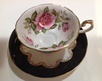 Queen's, Ebony Pattern Bone China Teacup and Saucer