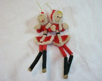 Vintage Adorable Felt Pipe Cleaner Santa and Mrs. Claus Ornaments Japan