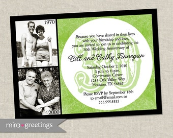 30th Anniversary Invitation - Green Emerald Wedding Anniversary Party Invite (Printable Digital File)