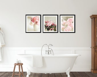 Pink flower print set, Flower photography, set of 3 prints, pink home decor, country home decor,  pink and sage photo set, floral print set,