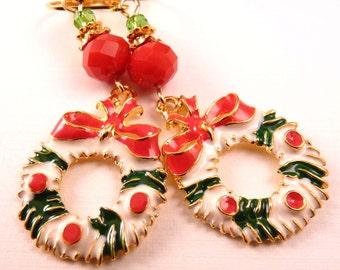 Christmas Earrings Christmas Jewelry Enamel Christma Wreath Christmas  Earrings Wreath Jewelry Holiday Jewelry Beaded Jewelry Silver Jewelry
