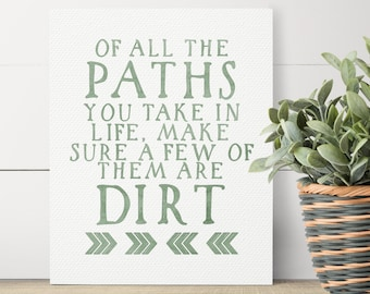 Travel Quotes - Nature Lover Gift - Gifts For Travelers - Adventure Gifts - John Muir Quote - Of All The Paths You Take - Rustic Home Decor
