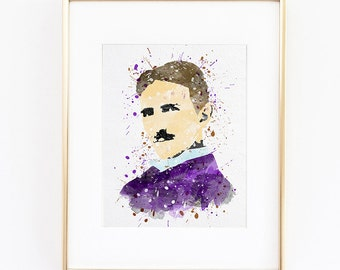 Nikola Tesla portrait Watercolor silhouette Fine Art Print, instant digital download high quality poster for wall  kids or nursery decor