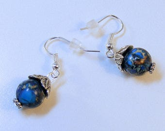Silver Leaf Capped Cerulean Blue Earrings