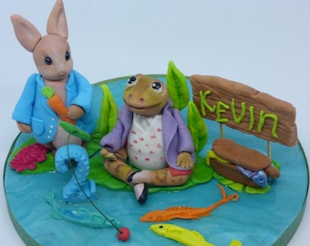 Peter Rabbit and Jeremy Fisher,Birthday,Edible,Handmade Cake Toppers