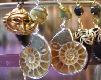 FiNALLY BaCK Earrings, ammonite fossil   SupportingArtists, OlympiaEtsyTeam, FunkyAlternativeJewelry, paganteam, etsyBead, WWWG