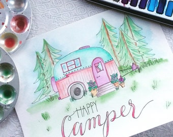 Happy Camper - original watercolor & handlettered art
