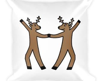 Dancing Reindeer Square Pillow- Christmas Gift - Throw Pillow, Bed Pillow, Kids Room Decor