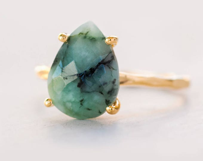 Featured listing image: Green Raw Emerald Ring Gold, May Birthstone Ring, Raw Gemstone Ring, Solitaire Stone Ring, Stacking Ring, Tear Drop Ring, Gift for Her