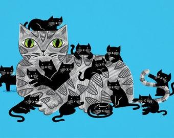 Kitten Litter - Limited Edition - Cat and Kittens - Art poster print by Oliver Lake - iOTA iLLUSTRATiON