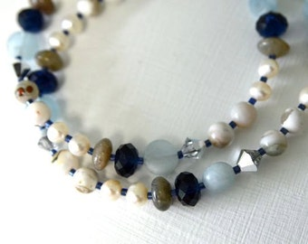 "Pearl Necklace Jasper Necklace Aquamarine Necklace ""Clair de Lune Collection""  Moonlight"