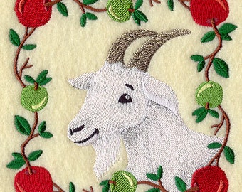 Country Goat Square Embroidered Flour Sack Hand/Dish Towel