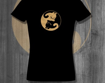 Cat Lover Ying Yang T-Shirt| Free Shipping