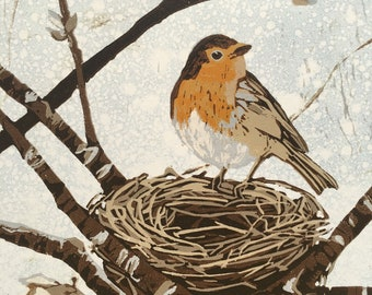 English Robin, original woodcut on monoprint
