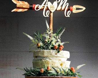 Initials Cake Topper. Wedding Arrow Cake Topper. Rustic Wedding Arrow Cake Topper. Rustic Cake Topper Engagement Cake Topper. Personalized