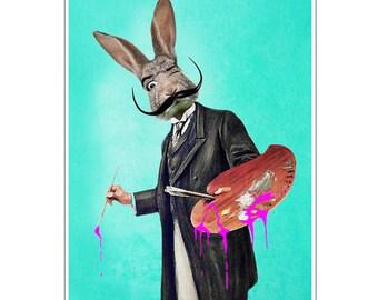 Rabbit Print, Rabbit Art Print, Rabbit Bunny Print, Rabbit Art, Bunny Print, Rabbit Wall Art, 8x10,Turquoise, Wall Decor, Men, Art Print