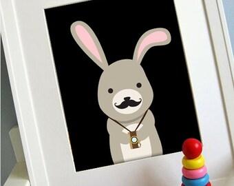 bunny printable 8x10 children's art print