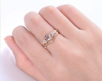 Morganite ring Rose gold vintage engagement ring set Art deco Alternative Diamond Wedding Bridal set Anniversary Christmas gift for women