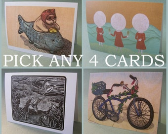 PICK ANY 4 NOTECARDS // 5 x 7 blank notecards - illustration card - card set - greeting cards set - assorted greeting cards - recycled