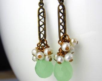 Sea Foam Green Drops and Pearl Earrings   on Brass