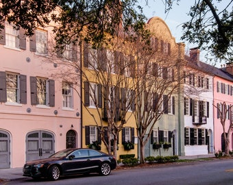 Charleston Rainbow Row Photo - Canvas Rainbow Row Art - Charleston South Carolina Photography -  Charleston Print -  Charleston SC Art