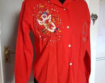 Vive le Carnaval vintage 1950s Christmas snowman shirt