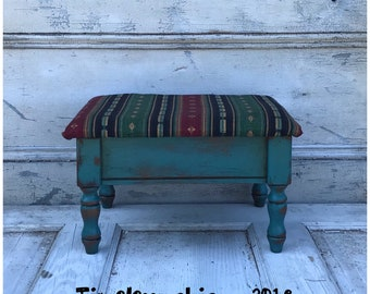 Wooden Footstool Foot Rest with Storage - Footstool - Wooden Stool - Wood Stool - Foot Rest - Upholstered Footstool - Storage - Small Stool