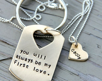 Dog tag keychain and Necklace pair - I loved you First - Heart Dog Tag Cut out - Matching Father Daughter Set Dog Tag - Father