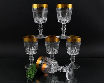 Antique 20s finest crystal glasses with gold rim Real gold decorations Made in Germany Perfect condition Wine glasses crystal