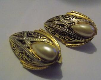 Vintage earrings, Spanish damascene enamel and pearl clip-on earrings, Spain jewelry