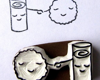 Milk and Cookie - made for each other pals rubber stamp hand carved