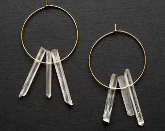 Quartz Hoop Earrings, Quartz Point Earrings