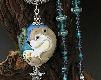 The Otter King  handmade lamp work otter and  sterling silver, glass necklace SRA