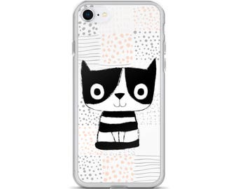 Cute cat iPhone X case animal, Pet phone cover unique for iPhone 8 Plus, Kawaii gift for cat lover, iPhone 7 Plus case 6 Plus iPhone 6s case