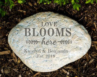 Garden Stones Engraved Personalized garden stone etsy engraved love blooms here large garden stone garden decor personalized grey outdoor workwithnaturefo