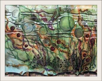 Original Abstract Watercolor, Mixed Media