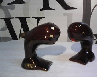Vintage Whale Salt & Pepper Shakers Ceramic made in Japan  FREE SHIPPING